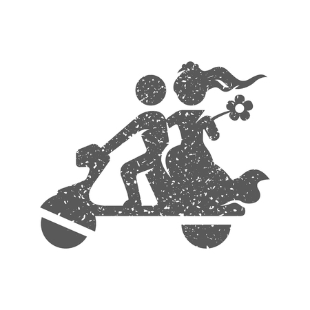 Wedding scooter icon in grunge texture. Vintage style vector illustration.