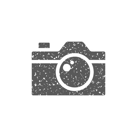 Camera icon in grunge texture. Vintage style vector illustration. Çizim