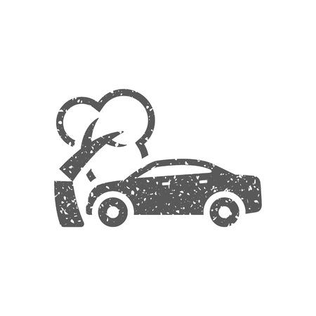 Icono de accidente de coche en textura grunge. Ilustración de vector de estilo vintage.