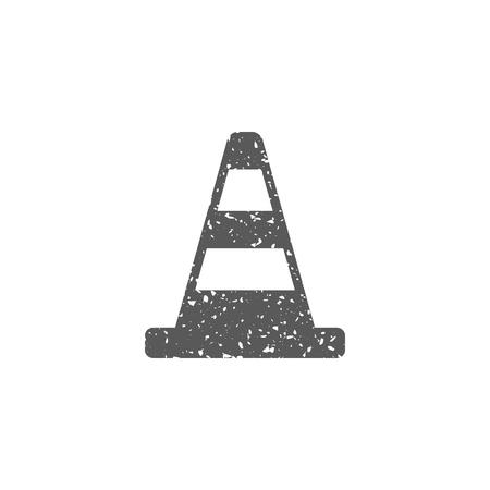 Icône de cône de signalisation dans la texture grunge. Illustration vectorielle de style vintage. Vecteurs