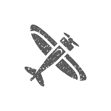 Vintage airplane icon in grunge texture. Vintage style vector illustration.