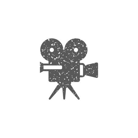 Movie camera icon in grunge texture. Vintage style vector illustration. Иллюстрация