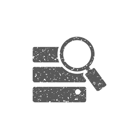Database search icon in grunge texture. Vintage style vector illustration.