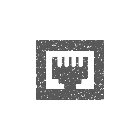 Local area connector icon in grunge texture. Vintage style vector illustration.