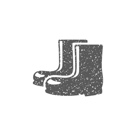 Wet boots icon in grunge texture. Vintage style vector illustration.