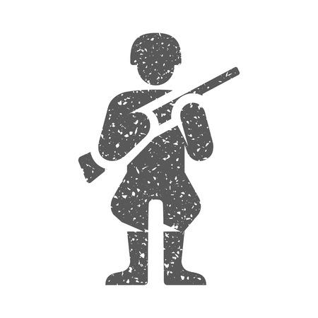 World War army icon in grunge texture. Vintage style vector illustration. Illustration