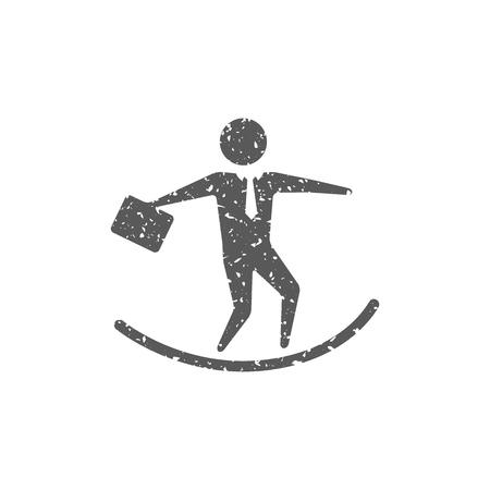 Businessman challenge icon in grunge texture. Vintage style vector illustration. Archivio Fotografico - 112378343