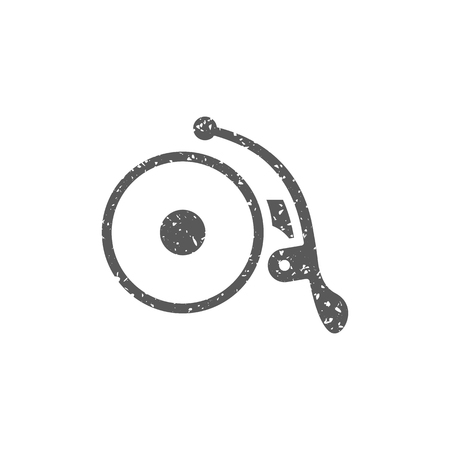 Bicycle bell icon in grunge texture. Vintage style vector illustration.
