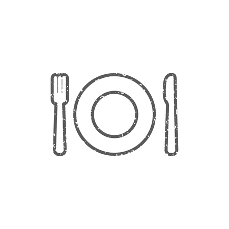 Dishes icon in grunge texture. Vintage style vector illustration.