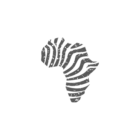 Africa map striped icon in grunge texture. Vintage style vector illustration.