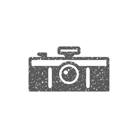 Panorama camera icon in grunge texture. Vintage style vector illustration.