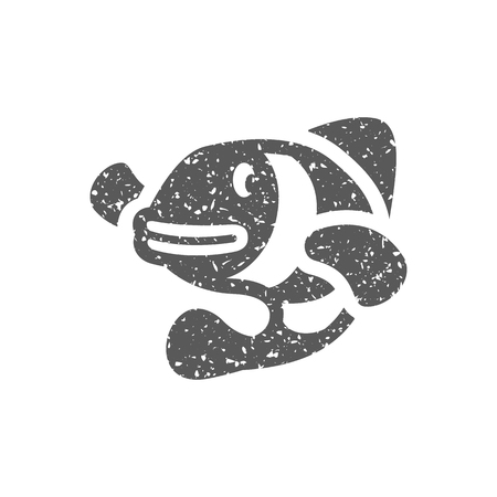 Clown fish icon in grunge texture. Vintage style vector illustration.