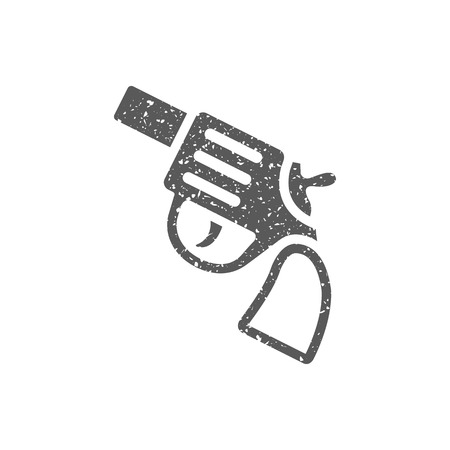 Revolver gun icon in grunge texture. Vintage style vector illustration. Illustration