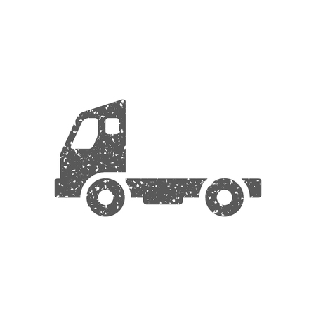 Empty container lift truck icon in grunge texture. Vintage style vector illustration. Vecteurs
