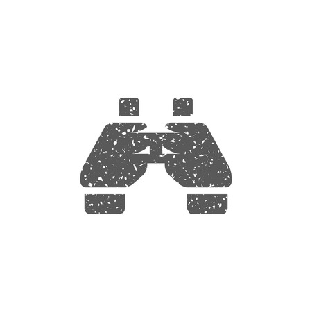 Binocular icon in grunge texture. Vintage style vector illustration.