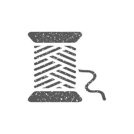 Yarn icon in grunge texture. Vintage style vector illustration. Vettoriali