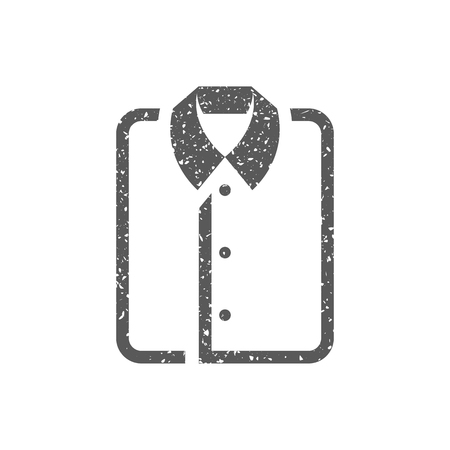 Folded shirt icon in grunge texture. Vintage style vector illustration.