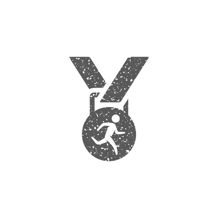 Athletic medal icon in grunge texture. Vintage style vector illustration. Illustration