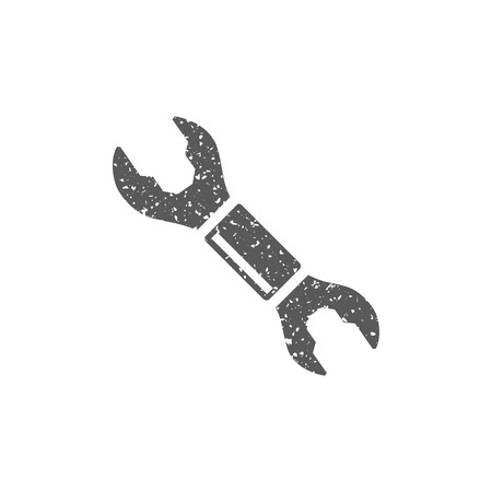 Bicycle wrench icon in grunge texture. Vintage style vector illustration.