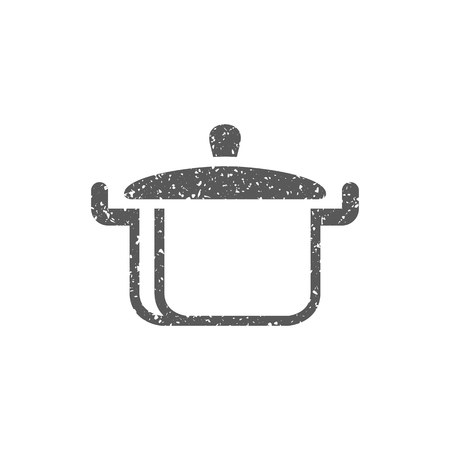 Cooking pan icon in grunge texture. Vintage style vector illustration.