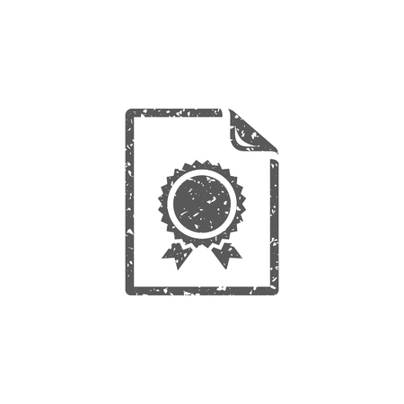 Contract document icon in grunge texture. Vintage style vector illustration.