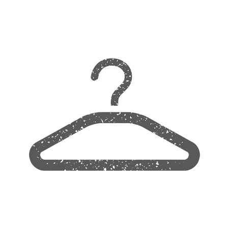 Clothes hanger icon in grunge texture. Vintage style vector illustration. Stock Illustratie