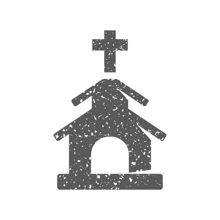 Church icon in grunge texture. Vintage style vector illustration.