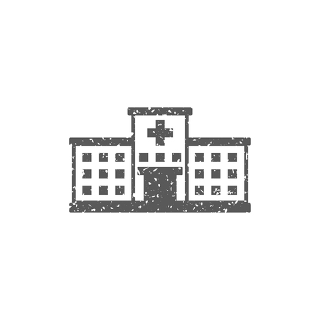 Hospital building icon in grunge texture. Vintage style vector illustration. Illustration