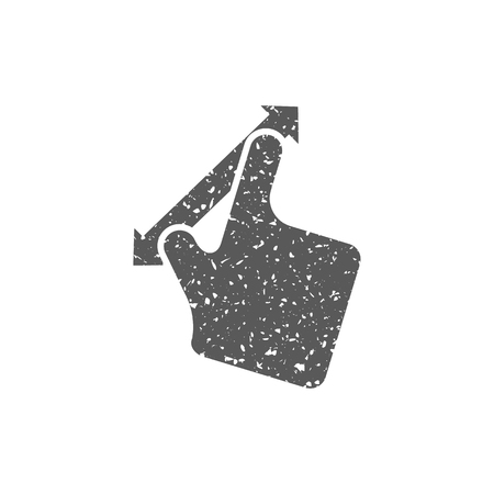 Finger gesture icon in grunge texture. Vintage style vector illustration.