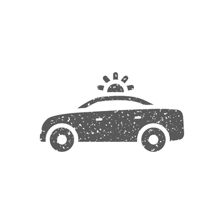 Safety car icon in grunge texture. Vintage style vector illustration.