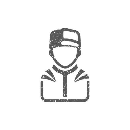Racer avatar icon in grunge texture. Vintage style vector illustration. Illustration