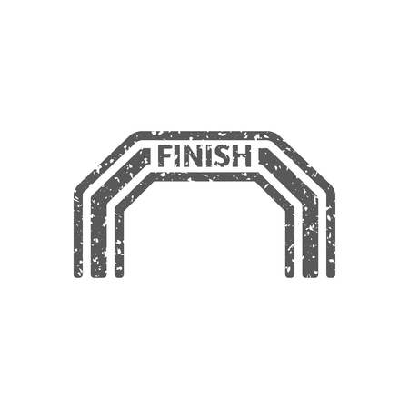 Finish line icon in grunge texture. Vintage style vector illustration.