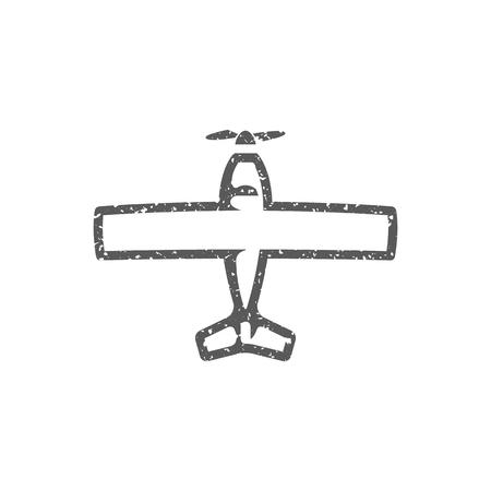 Vintage Airplane icon in grunge texture. Vintage style vector illustration.