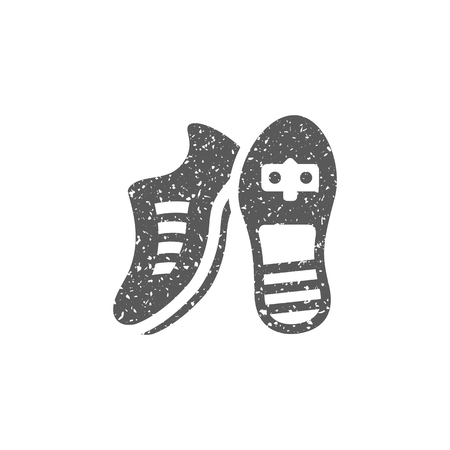 Soccer Shoe icon in grunge texture. Vintage style vector illustration.