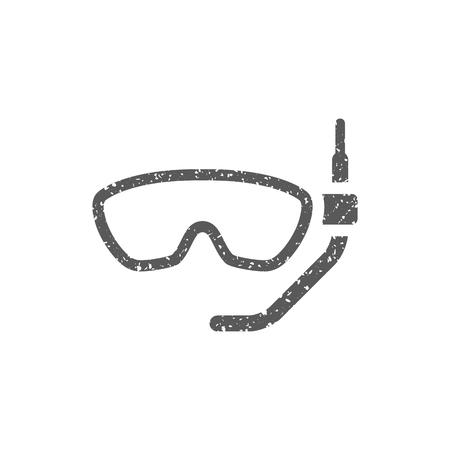 Icono de máscara de snorkel en textura grunge. Ilustración de vector de estilo vintage.