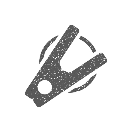 Clothes peg icon in grunge texture. Vintage style vector illustration.
