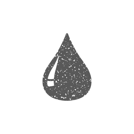 Blood drop icon in grunge texture. Vintage style vector illustration.