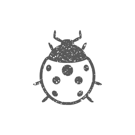 Bug icon in grunge texture. Vintage style vector illustration.