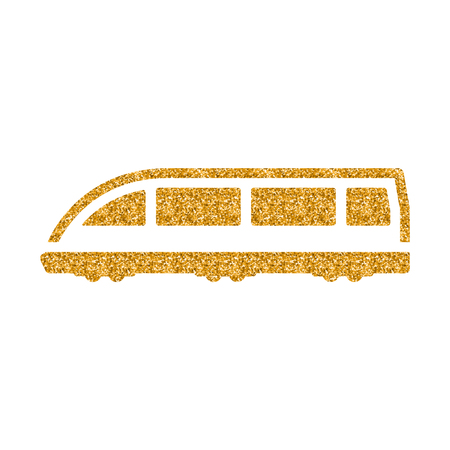 Tram icon in gold glitter texture. Sparkle luxury style vector illustration.