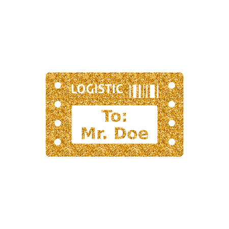 Logistic receipt icon in gold glitter texture. Sparkle luxury style vector illustration. Ilustração