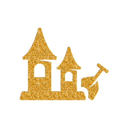 Sand castle icon in gold glitter texture. Sparkle luxury style vector illustration.