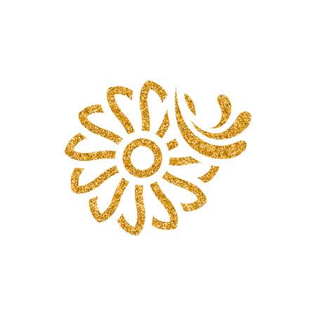 Water turbine icon in gold glitter texture. Sparkle luxury style vector illustration.