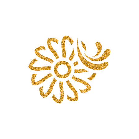 Water turbine icon in gold glitter texture. Sparkle luxury style vector illustration. Banque d'images - 112344751