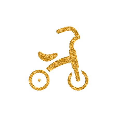 Kids tricycle icon in gold glitter texture. Sparkle luxury style vector illustration. Иллюстрация