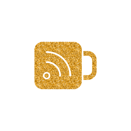 Cup icon with RSS symbol in gold glitter texture. Sparkle luxury style vector illustration.