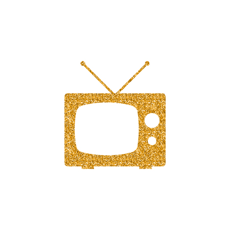 Television icon in gold glitter texture. Sparkle luxury style vector illustration. Imagens - 112344778
