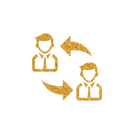 Employee rotation icon in gold glitter texture. Sparkle luxury style vector illustration.