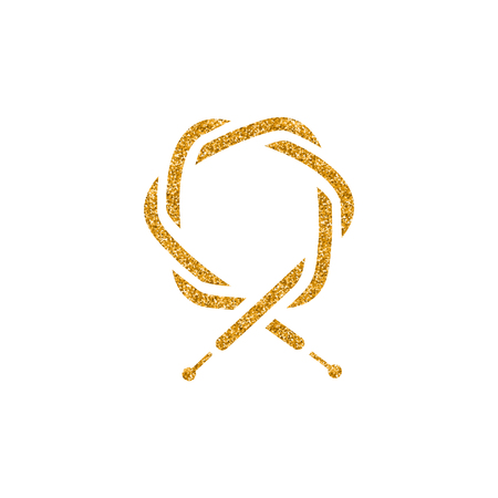 Bicycle cable icon in gold glitter texture. Sparkle luxury style vector illustration.
