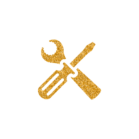 Bicycle tools icon in gold glitter texture. Sparkle luxury style vector illustration.
