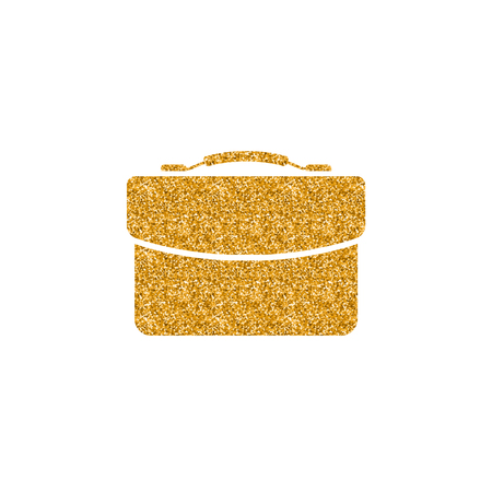 Business suitcase icon in gold glitter texture. Sparkle luxury style vector illustration.